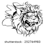 a mean looking lion animal... | Shutterstock .eps vector #252764983