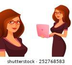 cute cartoon girl with pink...   Shutterstock .eps vector #252768583