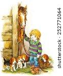 Farm Animals And Boy....