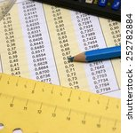 Small photo of Degrees and radians mathematical table together with glasses, blue pencil, measurement and calculator