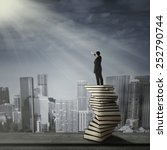 businessman standing on a stack ... | Shutterstock . vector #252790744