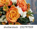 Bouquet Of Orange Roses And...