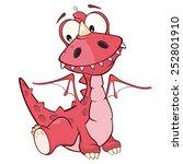 Cute Red Dragon Vector...