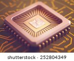 microchip on board. depth of... | Shutterstock . vector #252804349