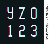 stereo font  letters y  z and... | Shutterstock .eps vector #252809863