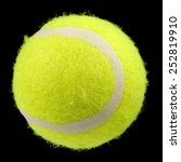 Small photo of Lawn Tennis Ball Isolated on Black Background
