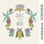 cute cartoon vector owls  in ... | Shutterstock .eps vector #252829828