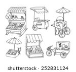 set of stall shop and cart ... | Shutterstock .eps vector #252831124