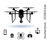 drone icon set  vector.  | Shutterstock .eps vector #252831166