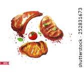 set of steaks.all elements on...   Shutterstock .eps vector #252831673
