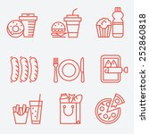 Food icons, thin line style, flat design | Shutterstock vector #252860818