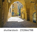 old street with arch and old...   Shutterstock . vector #252866788