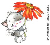 Stock photo funny kitten and flower decor for holiday greetings card and kids background watercolor 252871663