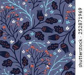vector floral seamless pattern... | Shutterstock .eps vector #252871969