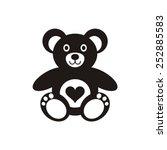 Black Teddy Bear Icon With...