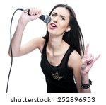 Singing Woman With A Microphone....