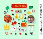 gambling flat icons set. casino ...