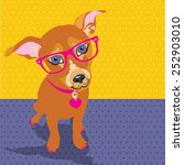 dog with glasses pop art vector ... | Shutterstock .eps vector #252903010