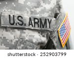 USA flag and US Army patch on solder