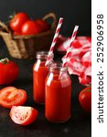 fresh red tomatoes and juice in ... | Shutterstock . vector #252906958