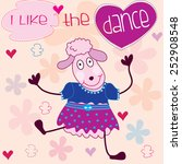 dancing lamb with flowers and...   Shutterstock .eps vector #252908548