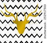 Goden Deer Head On A Hand Drawn ...