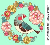 bright floral ornament with bird | Shutterstock .eps vector #252919894