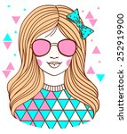 fashion teenage girl with... | Shutterstock .eps vector #252919900