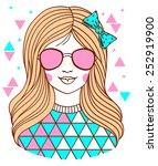 stylish teenage girl with... | Shutterstock .eps vector #252919900