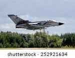 Small photo of LAAGE, GERMANY - AUG 23, 2014: A German Air Force Panavia Tornado IDS from AG-51 takes off during the Laage airbase open house. AG-51 is a tactical reconnaissance wing of the German Air Force.