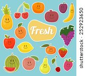 set of  fruits stickers.... | Shutterstock .eps vector #252923650