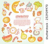 child and baby food  menu with... | Shutterstock .eps vector #252939970