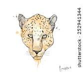 leopard head. drawing vector   Shutterstock .eps vector #252941344