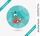 christmas candle flat icon with ...