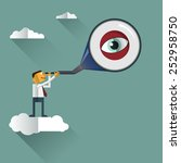 smart businessman looks through ... | Shutterstock .eps vector #252958750