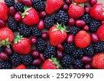 berries  summer fruit on wooden ... | Shutterstock . vector #252970990