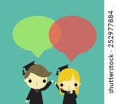 man and woman who is graduate... | Shutterstock .eps vector #252977884