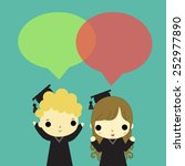 man and woman who is graduate... | Shutterstock .eps vector #252977890