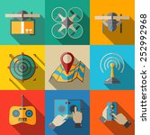 set of flat drone icons   drone ... | Shutterstock .eps vector #252992968