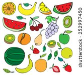 doodle set of different fruits...   Shutterstock .eps vector #252997450