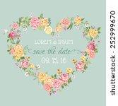 floral retro wedding invitation ... | Shutterstock .eps vector #252999670