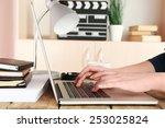 female hands of scriptwriter...   Shutterstock . vector #253025824