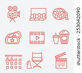 cinema icons  thin line style ... | Shutterstock .eps vector #253042090
