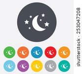 Moon And Stars Icon. Sleep...