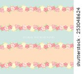 shabby chic. background. floral ... | Shutterstock .eps vector #253048624