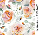 watercolor roses seamless... | Shutterstock . vector #253054489