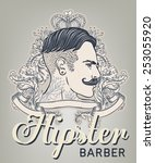 hipster barber shop business... | Shutterstock .eps vector #253055920