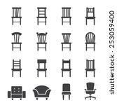 chair icon | Shutterstock .eps vector #253059400