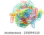 multicolored paper clips on... | Shutterstock . vector #253094110