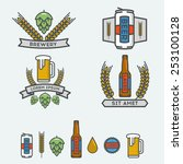 vector linear icon of beer. | Shutterstock .eps vector #253100128